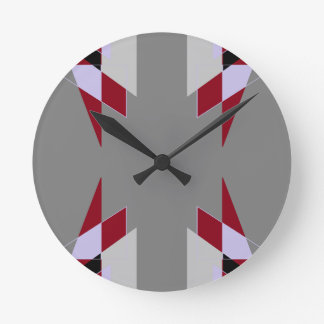 TRE 4 Triangles Abstract Grey Blue Red White Wall Clocks