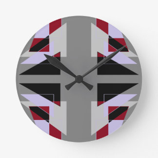 TRE 4 Triangles Abstract Grey Blue Red White Wallclocks