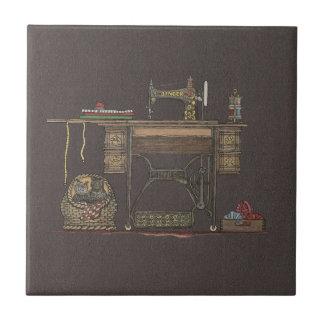 Treadle Sewing Machine Kittens Ceramic Tiles