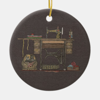 Treadle Sewing Machine & Kittens Christmas Ornament