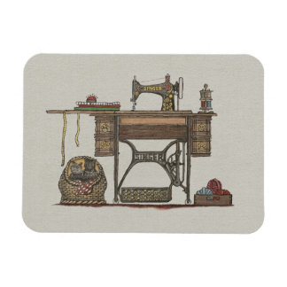 Treadle Sewing Machine & Kittens Magnet