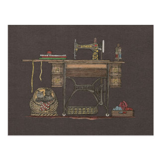 Treadle Sewing Machine & Kittens Postcard