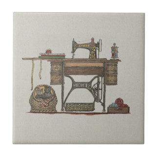 Treadle Sewing Machine Kittens Tiles