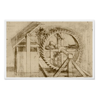 Treadmill Powered Crossbow, Leonardo da Vinci Poster