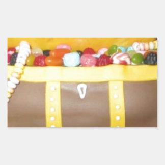 Treasure chest cake rectangular sticker