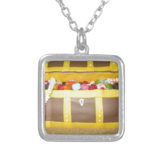 Treasure chest cake silver plated necklace