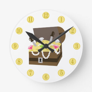 Treasure Chest Gold Coins & Pink Jewels Clock