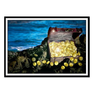 Treasure Chest of Gold on the Rocks Large Business Cards (Pack Of 100)