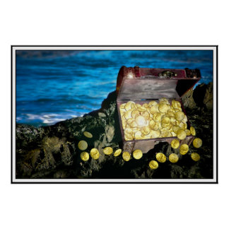 Treasure Chest of Gold on the Rocks Poster
