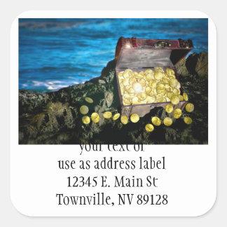 Treasure Chest of Gold on the Rocks Square Sticker