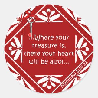 Treasure chest round stickers
