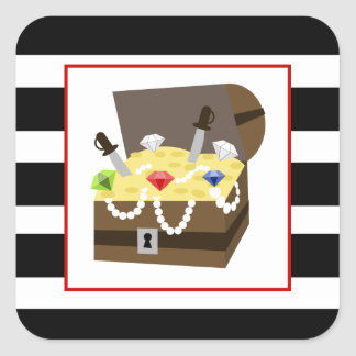 Treasure Chest With Red Blue & Green Jewels Square Sticker