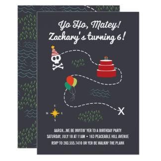 Treasure Map Birthday Invitation, Pirate Card
