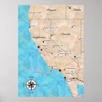Treasure Map California (poster) Poster