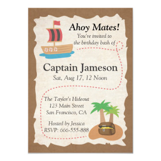 Treasure Map, Pirate Theme Birthday Party Card