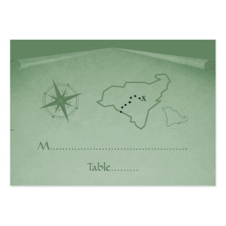 Treasure Map Place Card, Green Pack Of Chubby Business Cards