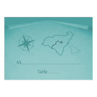 Treasure Map Place Card, Teal Business Card