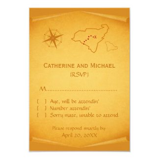 Treasure Map Response Card 9 Cm X 13 Cm Invitation Card