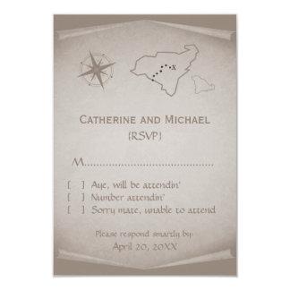 Treasure Map Response Card, Beige 9 Cm X 13 Cm Invitation Card
