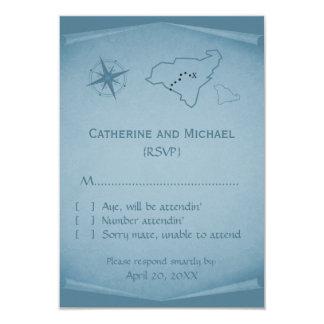 Treasure Map Response Card, Blue 9 Cm X 13 Cm Invitation Card