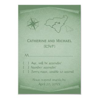 Treasure Map Response Card, Green 9 Cm X 13 Cm Invitation Card