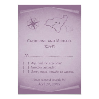 Treasure Map Response Card, Purple 9 Cm X 13 Cm Invitation Card