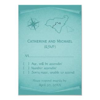 Treasure Map Response Card, Teal 9 Cm X 13 Cm Invitation Card
