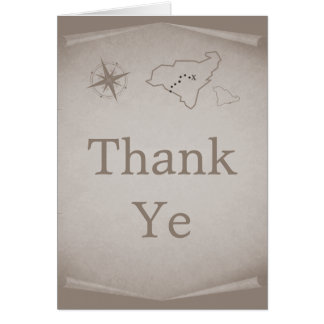 Treasure Map Thank You Card, Beige Note Card