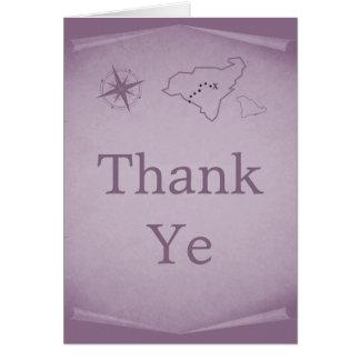 Treasure Map Thank You Card, Purple Card