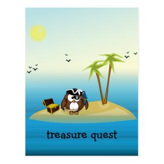 treasure quest owl postcard