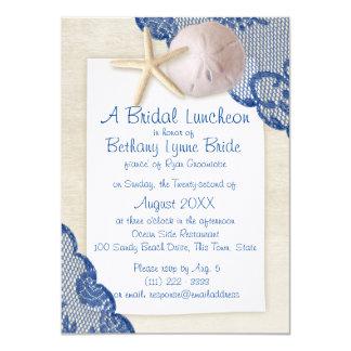 Treasured Beach and Lace Blue Bridal Shower 11 Cm X 16 Cm Invitation Card