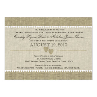 "Treasured Hearts and Burlap Wedding 5"" X 7"" Invitation Card"