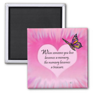 Treasured Memories Butterfly Poem Square Magnet
