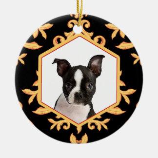 Treasured Pets Black & Gold Damask Dog / Cat Photo Round Ceramic Decoration