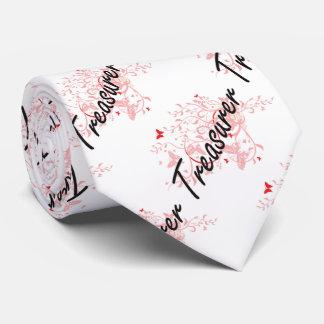 Treasurer Artistic Job Design with Butterflies Tie