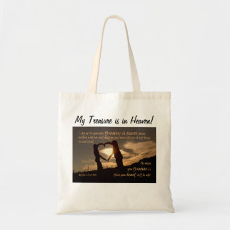 Treasures in Heaven Matthew 6:19-21 Bible Verse Budget Tote Bag