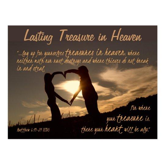 Treasures in Heaven Matthew 6:19-21 Bible Verse Postcard