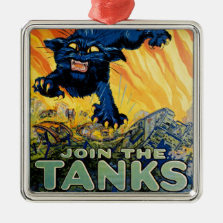 Treat 'em Rough - Join the Tanks Silver-Colored Square Decoration