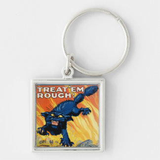 Treat 'em Rough - Join the Tanks Silver-Colored Square Key Ring