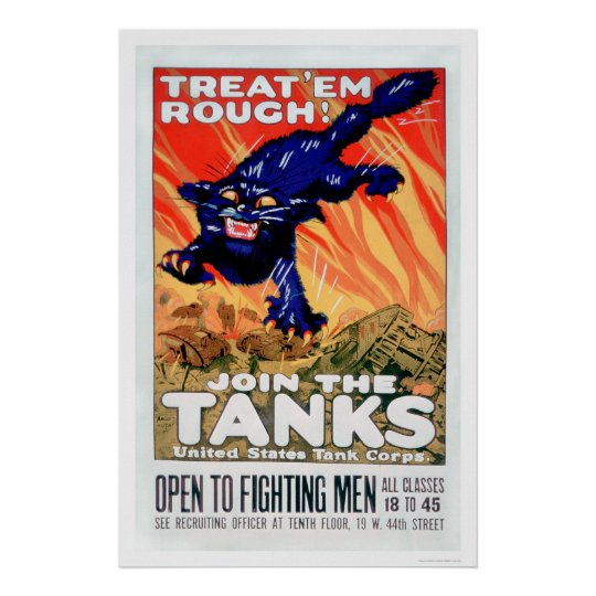 Treat 'Em Rough!  Join the Tanks (US02077A) Poster