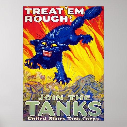 Treat 'Em Rough! ~ Vintage World War 1. Poster