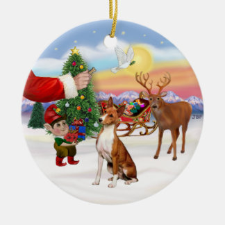 Treat for a Basenji Christmas Ornament