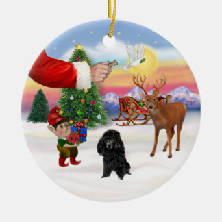 Treat for a Black Poodle (Toy) Round Ceramic Decoration