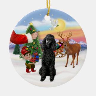 Treat for a black Standard Poodle Round Ceramic Decoration