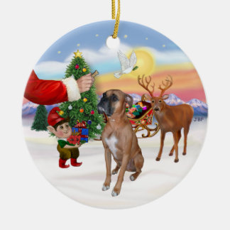 Treat for a Boxer Christmas Ornament