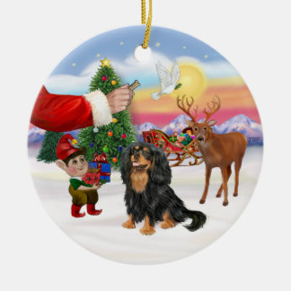 Treat for a Cavalier (black / Tan) Christmas Ornament
