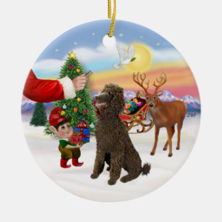 Treat for a Chocolate Standard Poodle Christmas Ornament