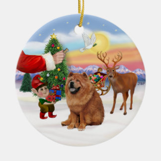 Treat for a Chow Chow (red) Christmas Ornament