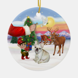 Treat for a French Bulldog Christmas Ornament
