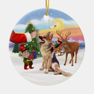 Treat for a German Shepherd Christmas Ornament